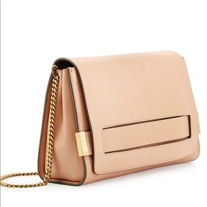 Chloe Elle Large Clutch Bag With Chain Strap Nude